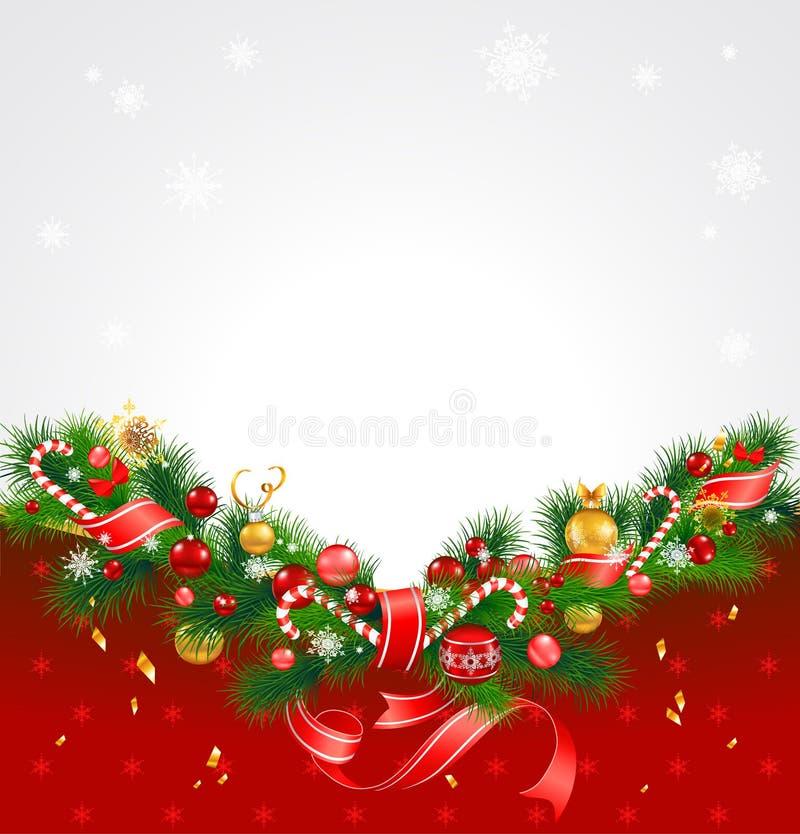 Fundo do Natal com árvore de abeto ilustração do vetor