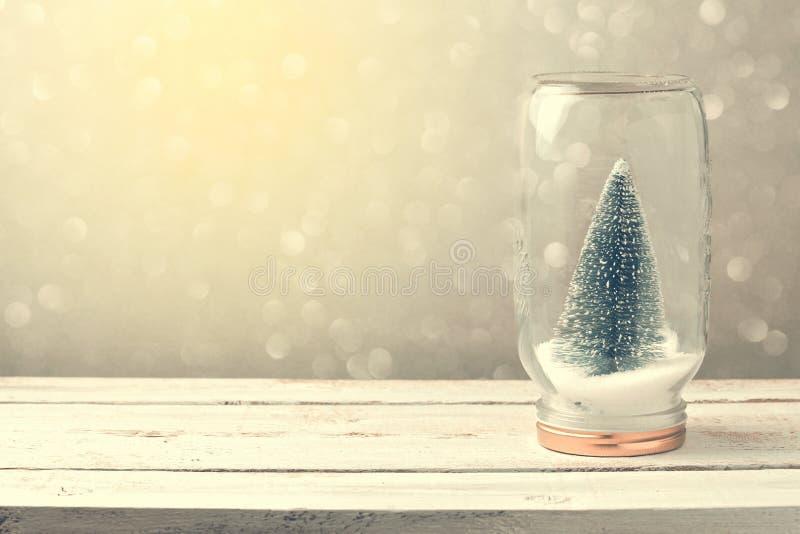 Fundo do Natal com a árvore no frasco e no bokeh fotografia de stock royalty free