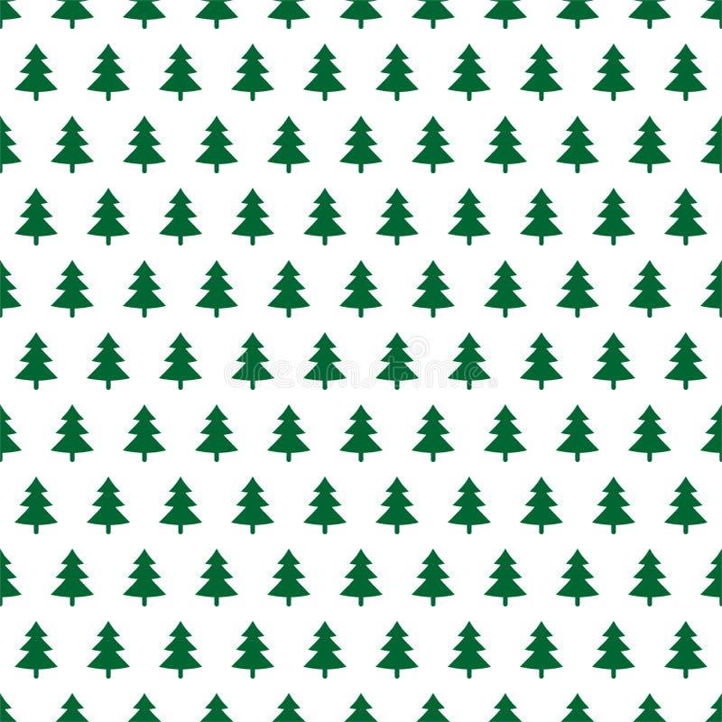 Fundo do Natal com árvores verdes em seguido em um fundo branco ilustração royalty free