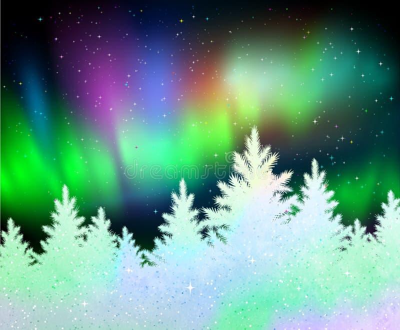 Fundo do Natal com aurora boreal ilustração stock