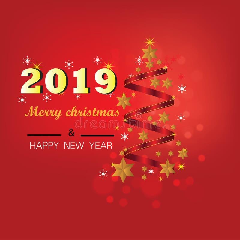 Fundo do Natal com a bandeira do Natal das estrelas Ano novo feliz 2019 do projeto do Xmas do fundo fotografia de stock