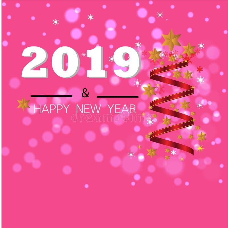 Fundo do Natal com a bandeira do Natal das estrelas Ano novo feliz 2019 do projeto do Xmas do fundo imagem de stock