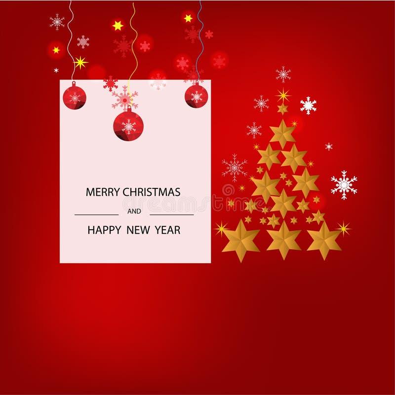 Fundo do Natal com a bandeira do Natal das estrelas Ano novo feliz 2019 do projeto do Xmas do fundo imagem de stock royalty free