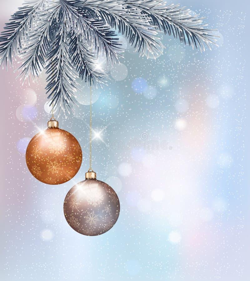Fundo do Natal com baubles ilustração do vetor