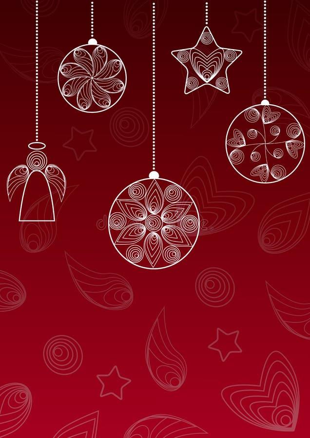 Fundo do Natal com bolas de suspensão, anjo e estrela ilustração royalty free