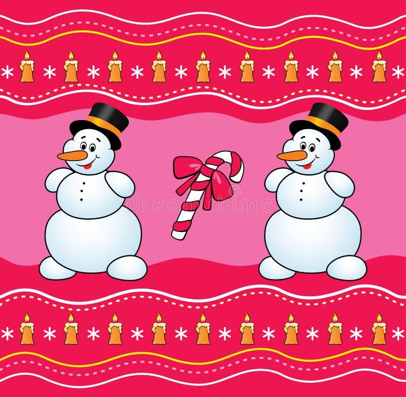 Fundo do Natal com boneco de neve e doces. ilustração do vetor