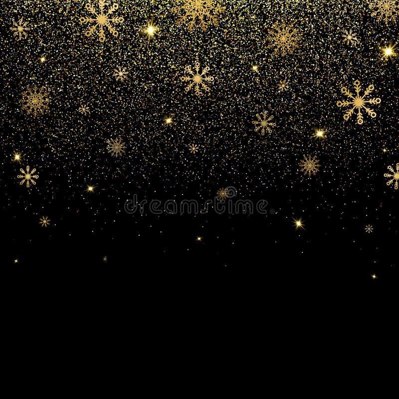 Fundo do Natal com brilho e os flocos de neve de brilho do ouro Textura dourada do brilho com luzes de incandescência Projeto do  ilustração royalty free