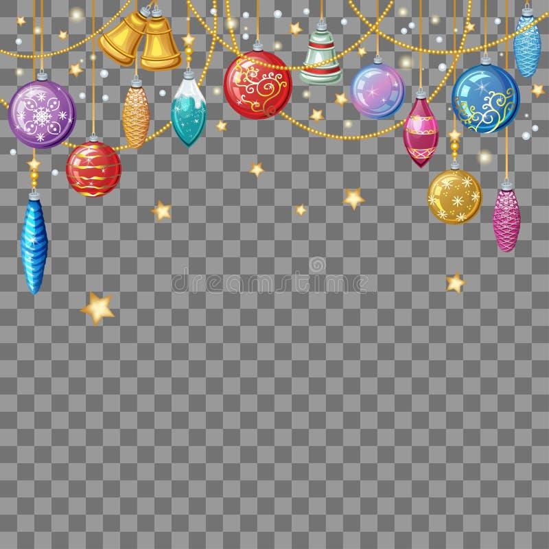 Fundo do Natal com brinquedos e decoração do Natal ilustração stock
