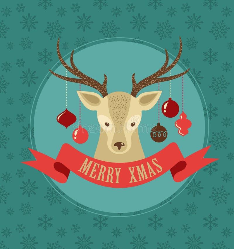 Fundo do Natal com cervos e fita do moderno ilustração stock