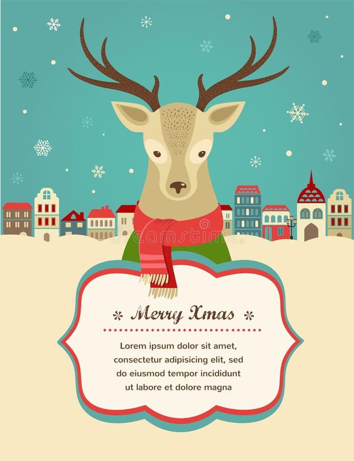 Fundo do Natal com cervos e fita do moderno ilustração royalty free