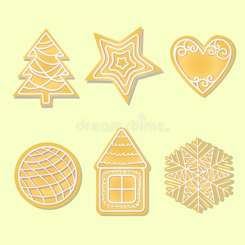 Fundo do Natal com cookies do pão-de-espécie ilustração stock