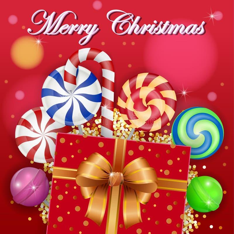 Fundo do Natal com doces e a caixa de presente doces ilustração do vetor