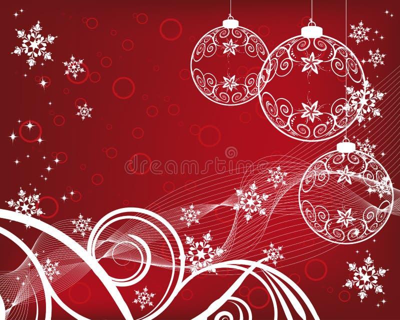 Fundo do Natal com esferas filigree ilustração do vetor