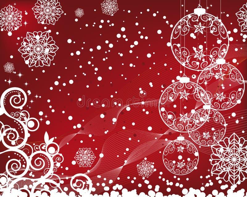 Fundo do Natal com esferas filigree ilustração stock