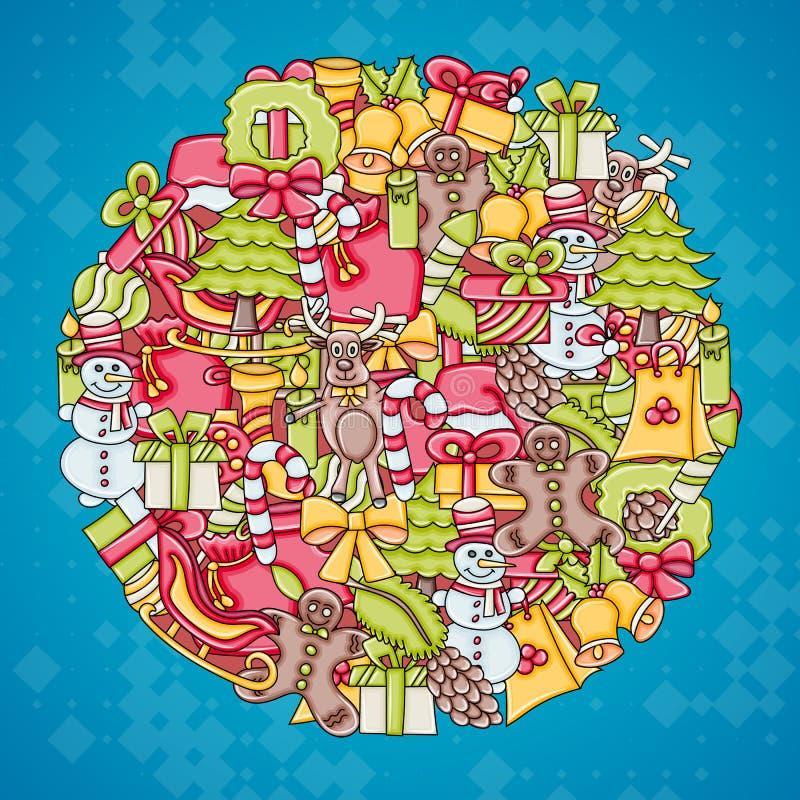 Fundo do Natal com espaço para o texto Para um cartão, um inseto, ou um folheto Garatuja tirada mão do estilo dos desenhos animad ilustração royalty free