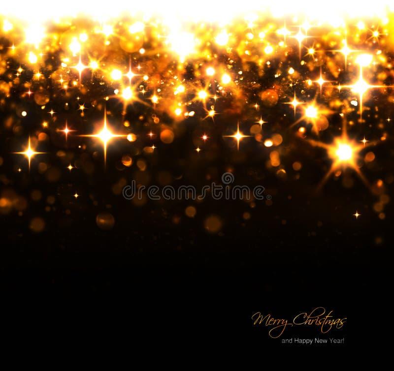 Fundo do Natal com estrelas efervescentes e flashes fotografia de stock royalty free
