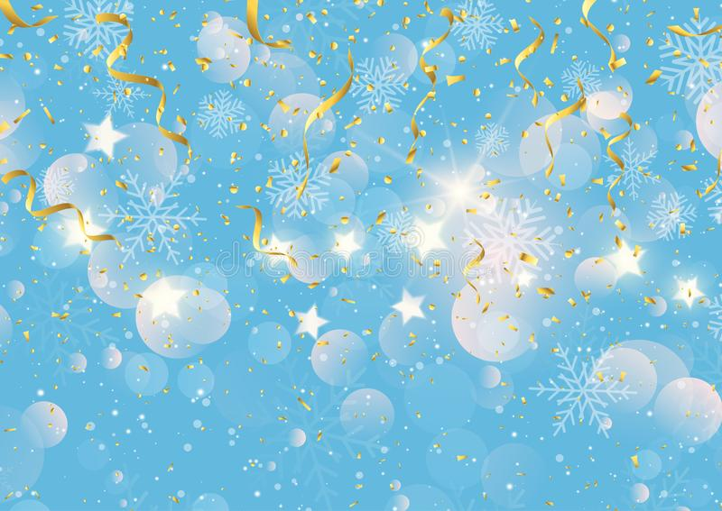 Fundo do Natal com flâmulas confetes e flocos de neve do ouro ilustração stock