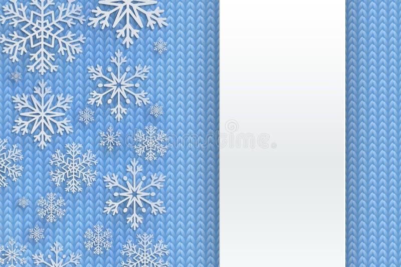 Fundo do Natal com floco de neve decorativo Teste padrão da malha Cartão de cumprimentos do Feliz Natal e do ano novo feliz Proje ilustração royalty free