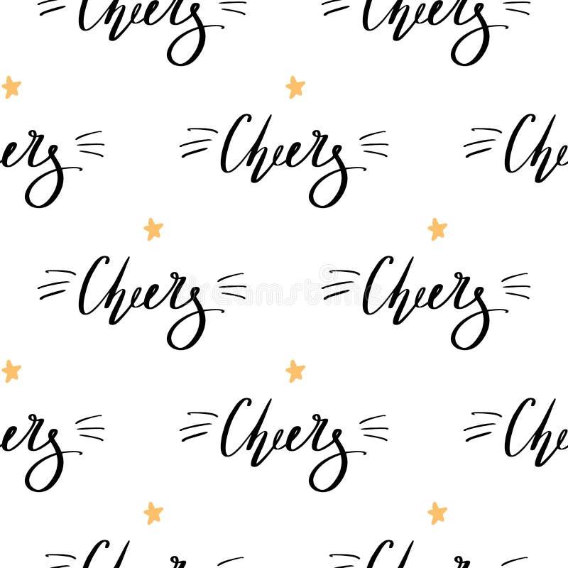 Fundo do Natal com fontes pretas dos elogios handdrawn da rotulação com estrela amarela Teste padrão sem emenda da garatuja bonit ilustração do vetor