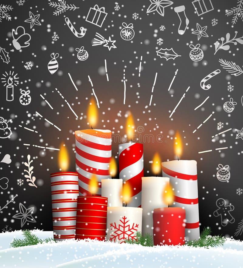 Fundo do Natal com grupo de velas ardentes ilustração royalty free