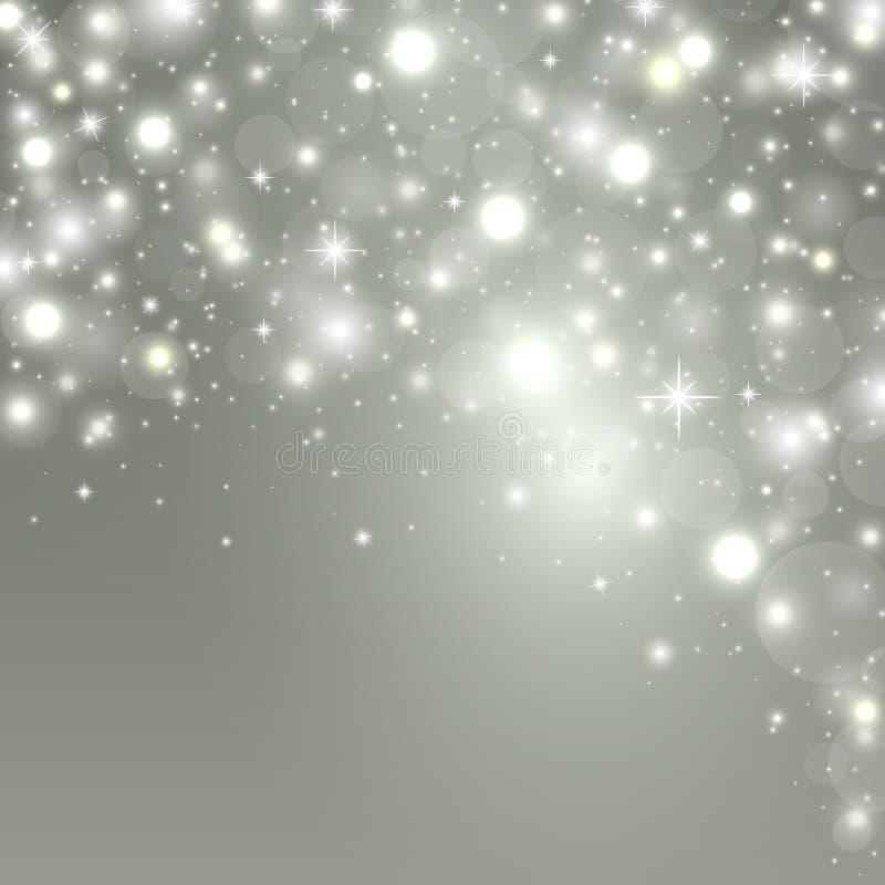 Fundo do Natal com luzes, estrelas da faísca e lugar para o texto Ilustração do vetor ilustração royalty free