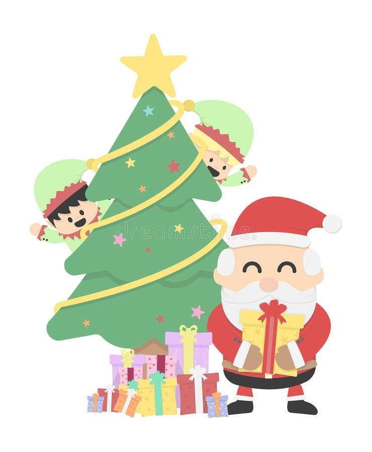 Fundo do Natal com o duende de Papai Noel e de Natal ilustração do vetor