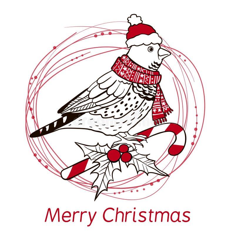 Fundo do Natal com pássaro. ilustração stock