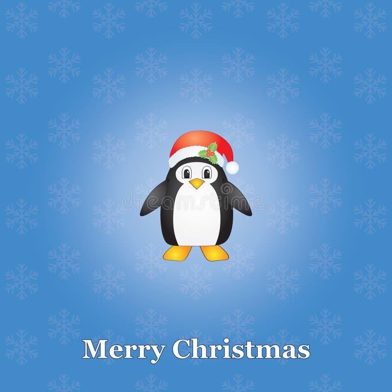 Fundo do Natal com pinguim ilustração stock