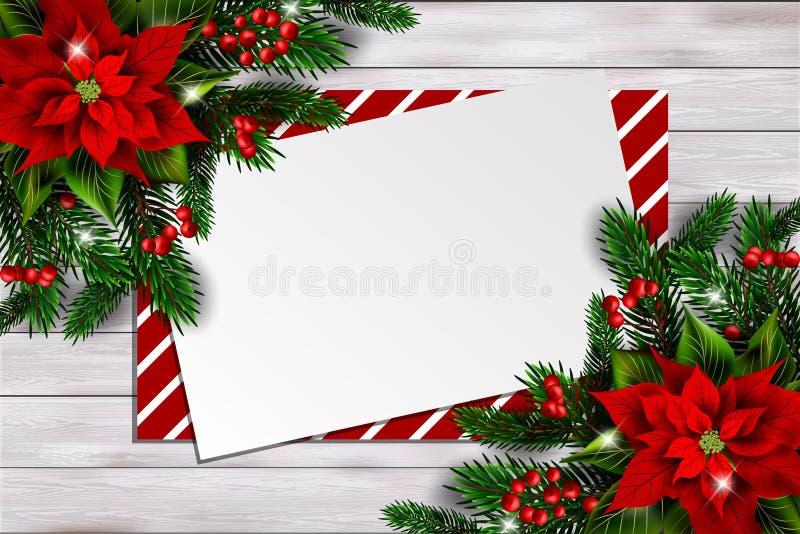 Fundo do Natal com poinsétia e o cartão vazio ilustração stock