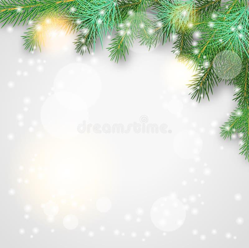 Fundo do Natal com ramos e sparkles verdes ilustração do vetor
