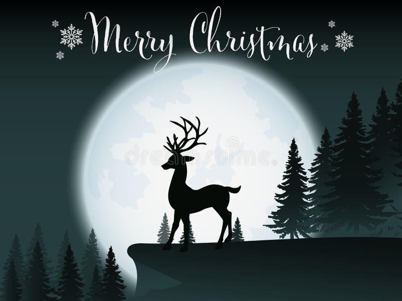 Fundo do Natal com a silhueta dos cervos que estão no monte perto dos pinheiros com Lua cheia e céu noturno claro ilustração stock