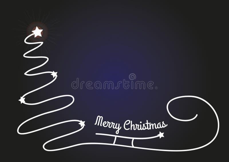 Fundo do Natal com a silhueta simples da árvore, do trenó de Santa e as estrelas brilhantes Cartão de Natal original com lugar pa ilustração stock