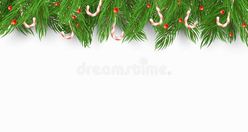 Fundo do Natal com uma árvore de Natal, os doces e as bagas da neve Fundo branco Molde para seu projeto Vetor imagens de stock