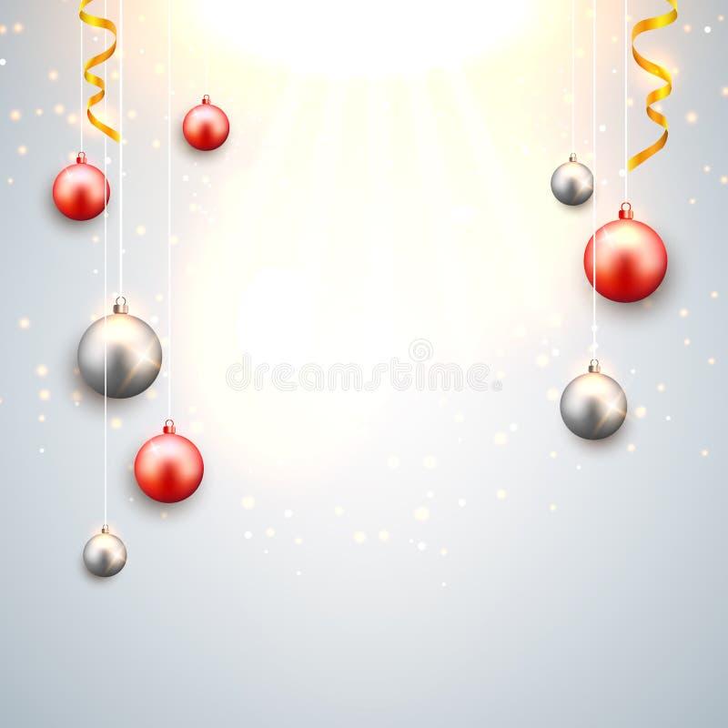 Fundo do Natal com vermelho e bolas do Natal da prata Cartão festivo decorativo do projeto da celebração do Xmas ilustração stock