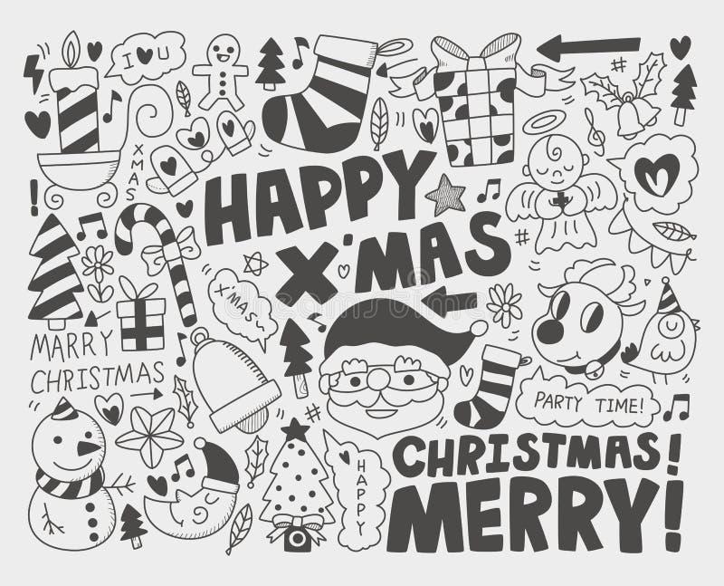 Fundo do Natal da garatuja ilustração stock
