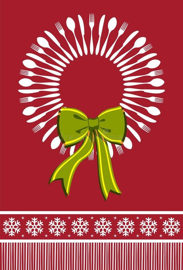 Fundo do Natal da grinalda da cutelaria ilustração stock