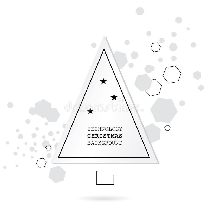 Fundo do Natal da tecnologia de Minimalistic Árvore do White Christmas e hexágonos cinzentos no fundo branco Vetor abstrato Backg ilustração royalty free