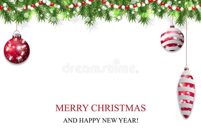Fundo do Natal, de decoração do ano novo festão com ramos do abeto, quinquilharias vermelhas e grânulos Vetor ilustração do vetor
