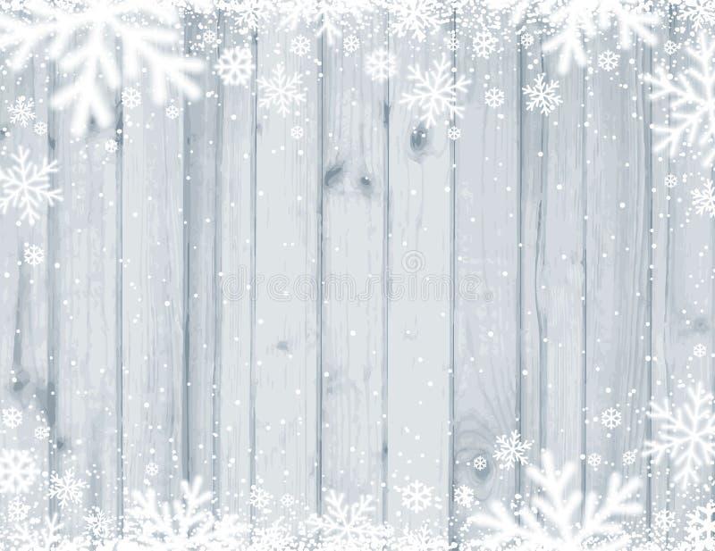 Fundo do Natal de Grey Wooden com os flocos de neve brancos borrados, ilustração royalty free