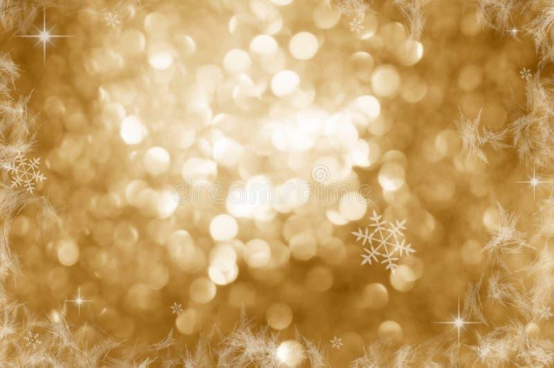 Fundo do Natal Fundo Defocused do brilho dourado do sumário do feriado com estrelas piscar Bokeh borrado ilustração do vetor
