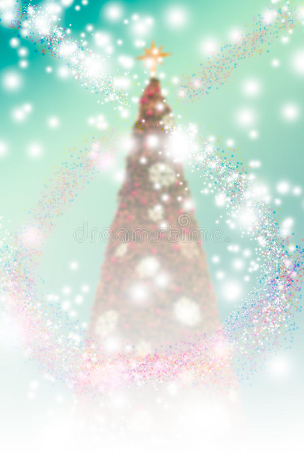 Fundo do Natal do borrão com árvores, flocos de neve ilustração do vetor