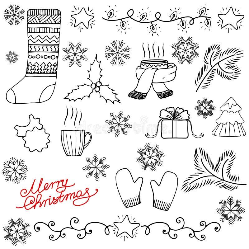 Fundo do Natal do Doodle ilustração stock