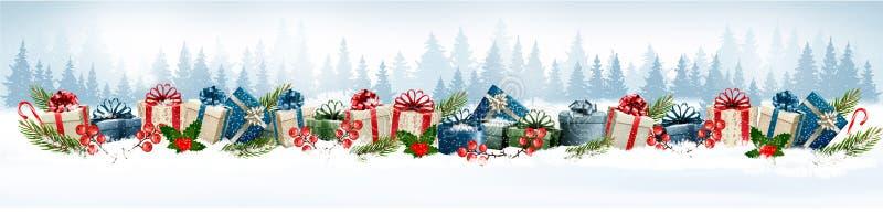 Fundo do Natal do feriado com caixas de presente coloridas ilustração royalty free