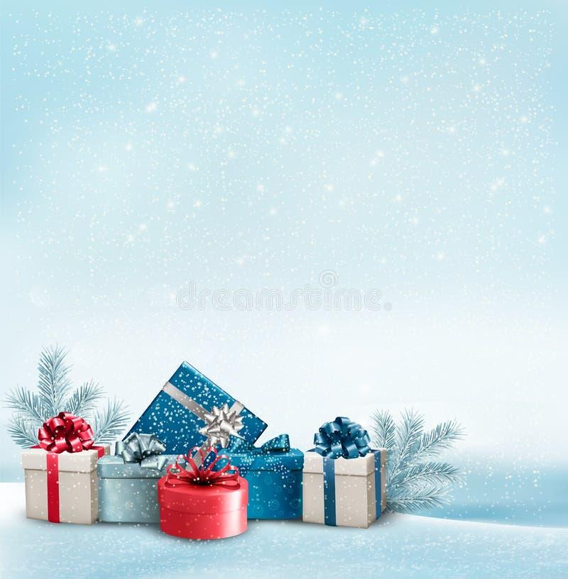 Fundo do Natal do feriado com uma beira das caixas de presente
