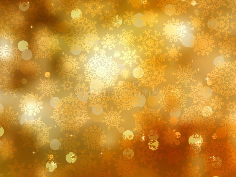 Fundo do Natal do ouro com flocos de neve. EPS 8 ilustração stock