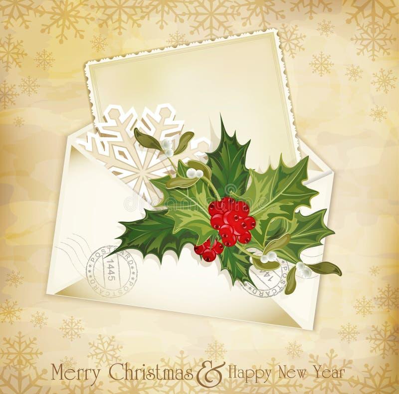 fundo do Natal do vintage com azevinho ilustração stock