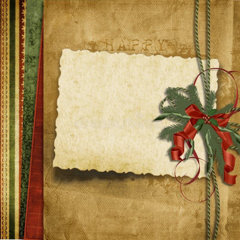 Fundo do Natal do vintage com cartão velho ilustração do vetor