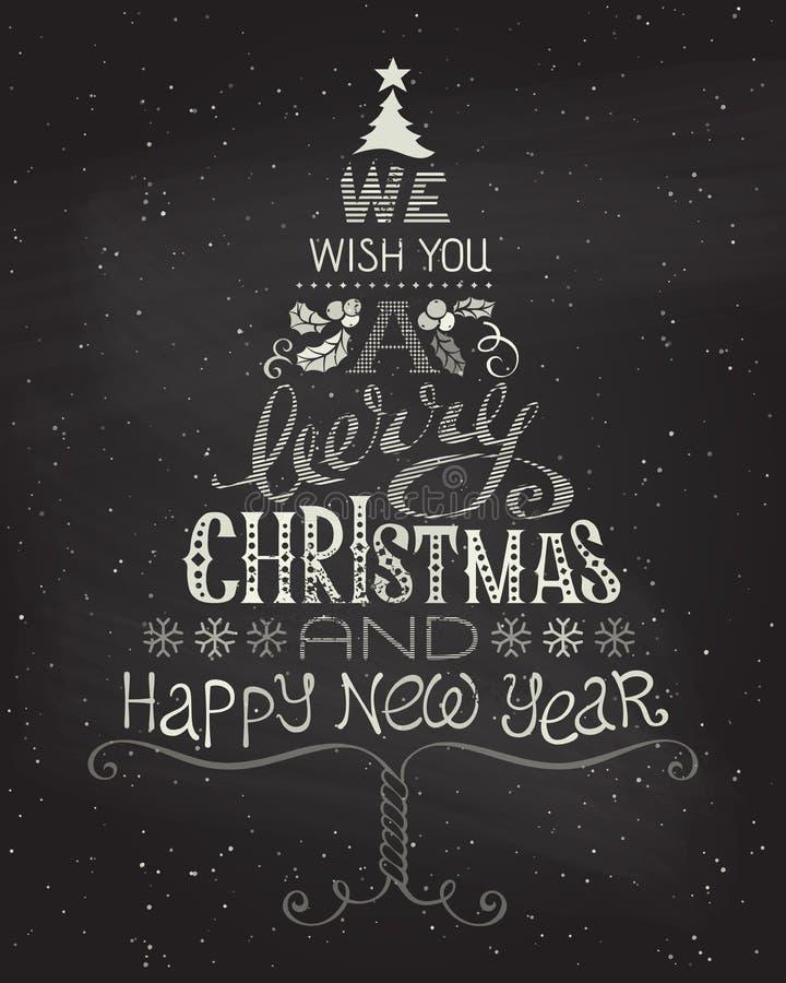 Fundo do Natal do vintage com tipografia escrita à mão ilustração royalty free