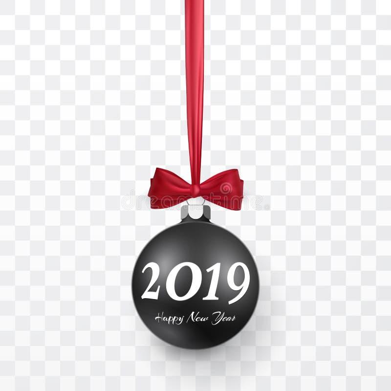Fundo do Natal 2019 e do ano novo com a bola preta do Natal e curva vermelha para o projeto do xmas Ilustração do vetor ilustração do vetor