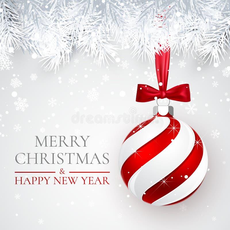 Fundo do Natal e do ano novo com bola do Natal, ramo do abeto e neve para o projeto do xmas Ilustração do vetor ilustração stock